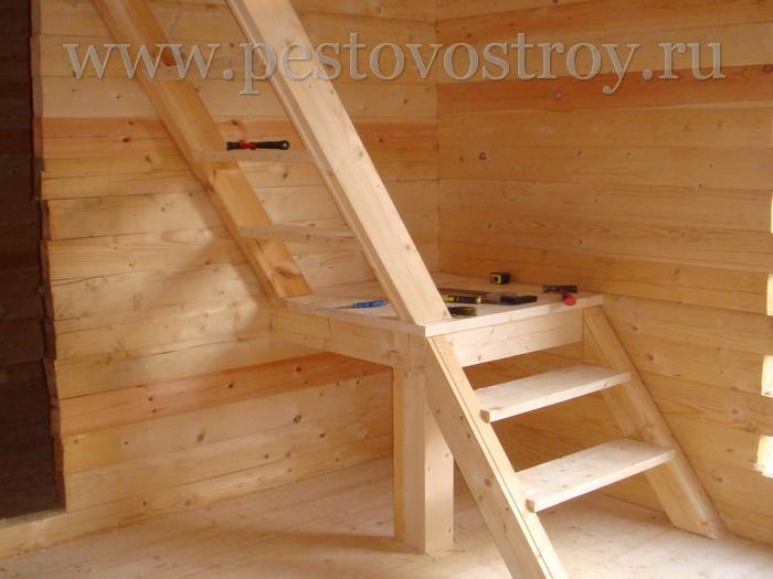 Простая лестница на второй этаж для дачи своими руками 49